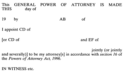 Powers Of Attorney Act 1996