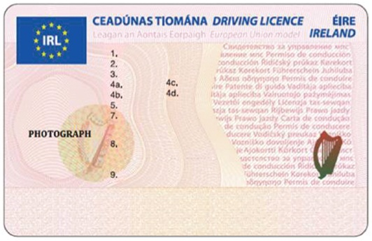 templates of new cc size driving licences