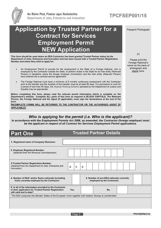 S I  No  172/2015 - Employment Permits (Trusted Partner
